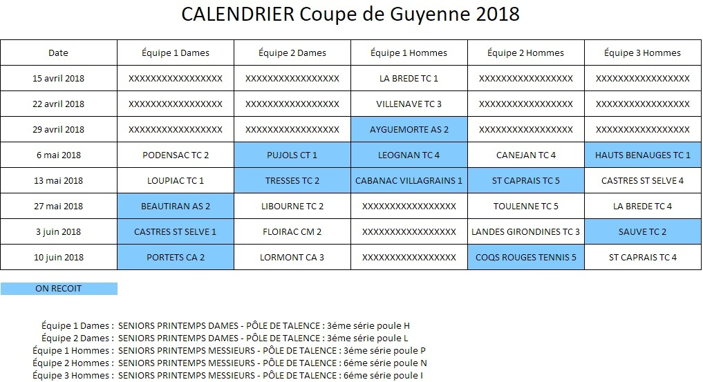 Calendrier Coupe.Calendrier Coupe De Guyenne Artolie Tennis Club